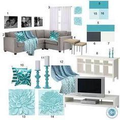 turquoise and gray living room - Bing Images