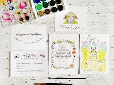 We've had a bunch of cloudy and rainy days here in DC, so I'm loving all the bright color in these watercolor wedding invitations and save the dates from J at Grey Snail Press. Created for a farm wedding in Vermont, J incorporated whimsical hand painted illustrations in lieu of more traditional rustic design elements. …