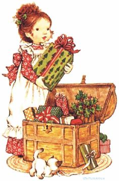 Vivien Kubbos's art of Sarah Kay Sarah Key, Holly Hobbie, Illustration Noel, Christmas Illustration, Illustrations, Vintage Christmas Cards, Christmas Images, Vintage Cards, Illustration
