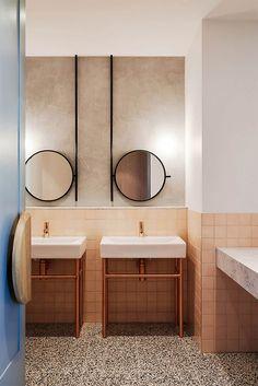 Salle de bain rose terracotta The Penny Drop Café -Studio We are Huntly Bathroom Mirror Inspiration, Bathroom Mirror Design, Bathroom Interior Design, Modern Bathroom, Mirror Ideas, Bathroom Mirrors, Vanity Ideas, Funky Bathroom, Bathroom Pink
