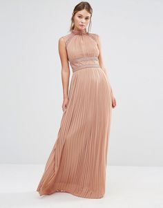 TFNC WEDDING Pleated Maxi Dress with Lace Detail