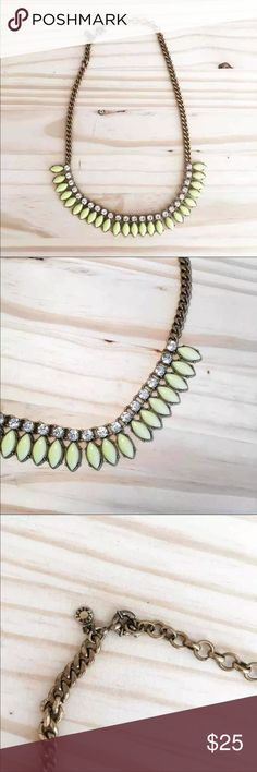 Jcrew Crystal Necklace Jcrew Crystal Necklace, clear crystals and toned yellow/green stones. Has been worn, in great condition! Purchased from Jcrew store, not the Factory outlet! J. Crew Jewelry Necklaces