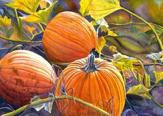Pumpkins, watercolor print of an original painting by Cathy Hillegas