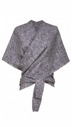 Tibi Knit Convertible Shawl in Heather Grey
