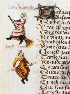 Earliest known image of women riding brooms. 1451 Waldensian (Vaudois) text, Martin Le France.
