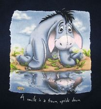 """Eeyore Winnie The Pooh """"A Smile Is A Frown Upside Down"""" T-Shirt Size L Blue"""