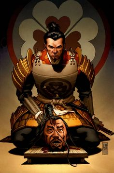 """ I have returned with his head"" - ""Illustration - Samurai Nº Heaven and Earth"", Lee Moder & Jason Keith Katana, Ronin Samurai, Samurai Warrior, Geisha, Okinawa, Ninja Assassin, Character Art, Character Design, Samurai Artwork"