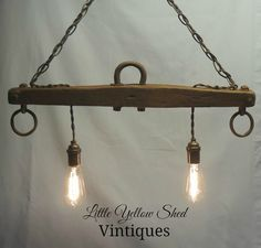 Repurposed Horse Yoke turned Hanging Light using Edison bulbs.  Check out my website at Little Yellow Shed Vintiques to see more pictures.  Like Little Yellow Shed Vintiques on Facebook!