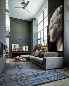 Gray living area, love the shade of gray and height
