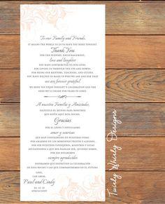 Scroll Thank You Wedding Place Settings Printable
