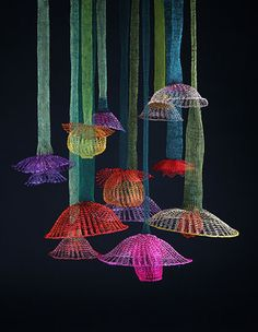 """Hanging Garden by Arline Fisch, photo: Will Gullette; on view in """"Hanging Garden of California - Arline Fisch,"""" A solo invitational of jewelry and floating forms, at Visions Art Museum: Contemporary Quilts + Textiles, San Diego, August 1—September 21, 2014."""