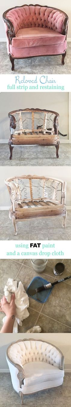 Reloved chair. [I'd have liked it the way it was (fab reading chair) but oh the end result is magnificent!! jh]..
