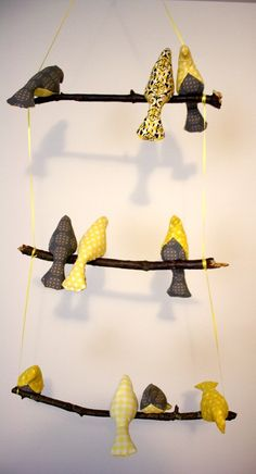 Make your own adorable DIY bird mobile for your child's nursery with this easy, step-by-step tutorial by Jen Woodhouse from The House of Wood. Bird Crafts, Craft Stick Crafts, Diy And Crafts, Arts And Crafts, Mobiles, Craft Projects, Sewing Projects, Bird Christmas Ornaments, Bird Mobile