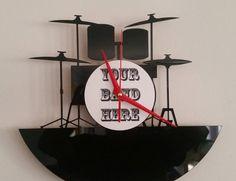 Personalized Drumkit Silhouette Clock by vapourlightlaser on Etsy