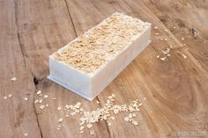 """Homemade Oatmeal Soap   Materials: 2 pounds shea butter glycerin soap base • 1 cup organic rolled oats • 2 tablespoons almond oil • 2 tablespoons raw honey • 1 soap-making loaf mold • 1 pot • 1 soap cutter or sharp knife   VIE Magazine: Home & Garden Issue September/October 2015   """"Home Maker""""   Photography by Rinn Garlanger"""