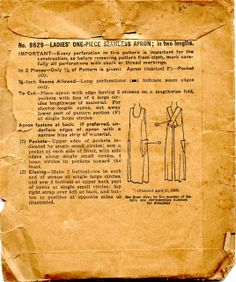 Vintage Sewing Patterns Unsung Sewing Patterns: McCall 8629 - Ladies One-Piece Seamless Apron Vintage Apron Pattern, Aprons Vintage, Vintage Sewing Patterns, Apron Patterns, Vogue Patterns, Dress Patterns, Sewing Aprons, Sewing Clothes, Sewing Toys