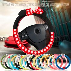 Hsc car styling accesorios cubierta del volante del coche de dibujos animados lindo universal de interior conjunto de las mujeres/hombre 16 diseños de portadas de coche hot new