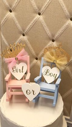 This beautiful mini rocking chair *SET OF is the perfect addition to the top of your baby shower cake, gender reveal or announcement cake, etc! These will also make a great gift and can be a cherished memento for years to come! Birthday Party Centerpieces, Baby Shower Centerpieces, Baby Shower Decorations, Baby Shower Gifts For Boys, Baby Boy Shower, Baby Showers, Baby Announcement Cake, Baby Girl Nursery Decor, Baby Decor