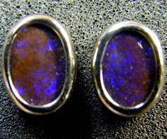BOULDER OPAL 18K WHITE GOLD EARRINGS 2.10 CTS  SCA 2139  boulder opal earrings , gold opal earrings