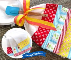 ScrapBusters: Fancy Border Tea Towels | Sew4Home >good use for longer fabric pieces leftover from other projects