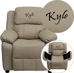Kids' Recliners - Flash Furniture Personalized Deluxe Heavily Padded Beige Vinyl Kids Recliner with Storage Arms -- Click image for more details.