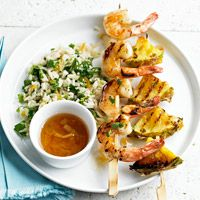 Grilled Shrimp and Pineapple Skewers - this recipe calls for pretty normal ingredients & is relatively easy... if I didn't need a table saw to cut fresh pineapple...