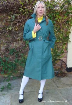 This hot babe looks innocent but she has a secret kinky side! Rubber Catsuit, Rubber Raincoats, Macs, Vintage Magazines, Rain Wear, Get Dressed, Kinky, The Incredibles, Shirt Dress