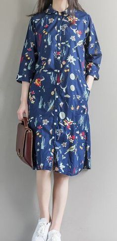 Women loose fit over plus size flower bird animal forest dress pocket tunic cute #Unbranded #dress #Casual