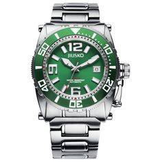 JIUSKO Men's Deep Sea 69LSGR16 24 Jeweled Automatic Titanium Green Watch. 24 Jeweled Automatic Self-Wind Movement. 40 Hours Power Reserve. 21,600 bph. Unidirectional Bezel. Date (3H). Helium Valve (9H). Luminous Display for Low Light. Up to 300 Meters (984 Feet) Water Resistant. Screw Down Crown. Suitable for scuba diving. Lightweight (approx 6 oz) Titanium. Sapphire Crystal. Matte/Polished Bracelet. Presentation: Jiusko Professional Hard Shell Storage Case, Leather Card Holder with…