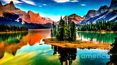 Spirit Island On Maligne Lake Jasper National Park~Dr Bob and Nadine Johnston - All our Fine Art