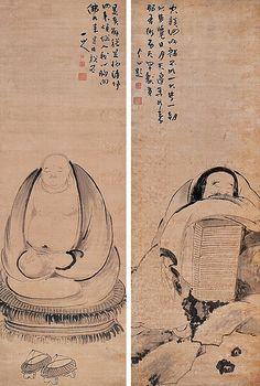 清代 - 朱耷 -《應真圖》對屏           Painted by the Qing Dynasty artist Zhu Da 朱耷. View paintings, artworks and galleries at Chinese Art Museum.