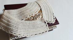 Cream crochet necklace collar Cream Peter Pan by HelenKurtidu