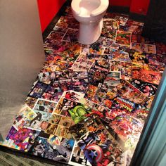 Super hero comic book floor.  I bought 12  comic books for $4, Mod Podge for $15, a bar top thick sealer for $22.  Was a fun project for me and my kids.  This is the floor in a bathroom at my advertising company...(so it works :-)