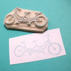 Bicycle Built for Two - Hand Carved Rubber Stamp.
