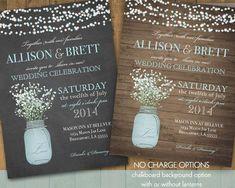 rustic mason jar wedding invitations - Google Search