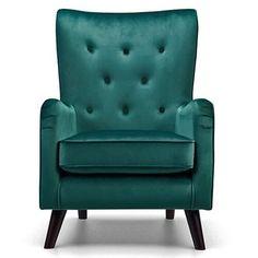 Green Velvet Fabric Accent Chair  Sloane & Sons