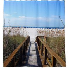 Shop unique Dock Ocean Beach Shower Curtains from CafePress. Great designs on professionally printed shower curtains. Beach Shower Curtains, Custom Shower Curtains, Beach Bathrooms, Inside Outside, Townhouse, Family Room, New Homes, Patio, Design