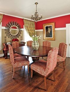 Will have dark beige walls (not two toned); like the red chairs & round table!