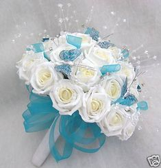 Artificial wedding flowers, brides posy bouquet in ivory roses with turquoise… Turquoise Wedding Flowers, Turquoise Bouquet, Butterfly Wedding Theme, Church Wedding Flowers, Aqua Wedding, Prom Flowers, Wedding Kiss, Bridal Flowers, Floral Wedding