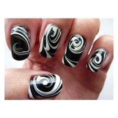 Nails / Black & White Water Marble Swirl Nail Art | Flickr : partage... ❤ liked on Polyvore featuring beauty products, nail care, nail treatments, nails, makeup, nail polish, beauty and backgrounds