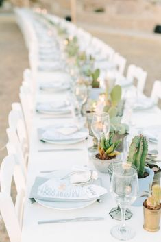 Romantic Wedding in Milos island Greece Succulent Centerpieces, Wedding Table Centerpieces, Table Decorations, Wedding Tables, Protea Wedding, Wedding Dress Train, Banquet Tables, Greece Wedding, Wedding Dinner