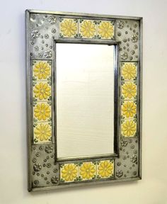 ":D PUNCHED TIN AND TALAVERA TILE MIRROR, YELLOW FLOWERS  DECOR - 34 "" H X 24.25"" W  #LAREDO #RUSTIC"