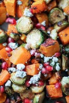 Brussels sprouts and butternut squash tossed irresistible chili-maple sauce then roasted to perfection. Topped with pomegrante, gorgonzola and pecans!