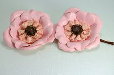 Fabric flower hair pin