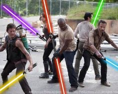 Nerd crossover!  Lightsabers would definitely be effective on zombies.  :)
