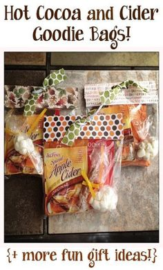 Hot Cocoa and Cider Goodie Bags. A Great Gift Idea for Valentine's Day or Great for a Stocking Stuffer.