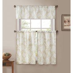 Duck River Ewva Linen Look Jacquard 3 Piece Kitchen Curtain Set Linen - EWKLN=12 /11683