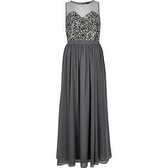 Grijze verfraaide maxi-jurk - lange jurken - jurken - dames