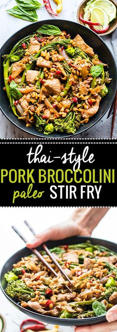 Quick Thai-Style Pork Broccolini Stir Fry. This Thai-Style Stir Fry with Pork and Broccolini is a great weeknight meal that is easy to make, gluten free, and paleo friendly. A Healthy protein packed that only takes 30 minutes from start to finish! @cottercrunch