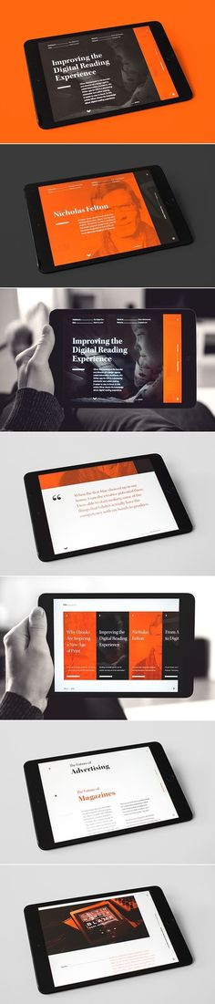 This ePub has a very simple design and colour scheme. It uses a rectangular style for the layout with the only colours being present are orange, black, and white. It's very appealing to look at despite the simple style since it seems to have a more modern and future-proof design due to rectangles being the only shape used.